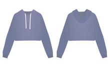 Woman Blue Crop Hoodie. Vector Illustration
