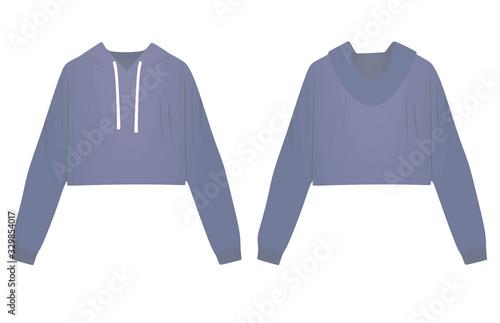 Woman blue crop hoodie. vector illustration Fototapeta