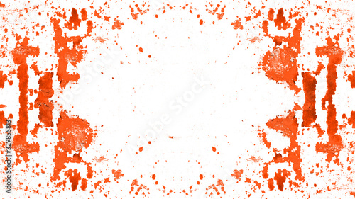 Fényképezés Frame of fire red painted abstract speckled splashes of color isolated on white
