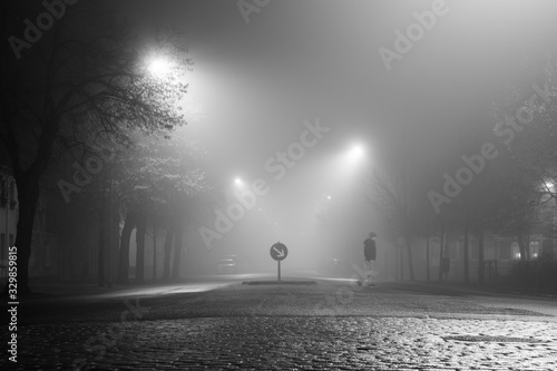Fotografia, Obraz Full Length Of Man Walking On Illuminated Cobbled Street At Night During Foggy W