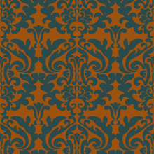 Seamless Damask Pattern. Yellow Background And Gray Pattern In Vector, Wallpaper, Fabric, Tile