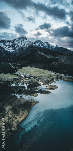 The Almsee lake in the austrian apls aerial view during spring Canvas Print