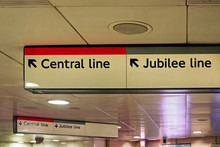 Direction Tables With Arrows Pointing To Central And Jubilee Line In London Underground Station