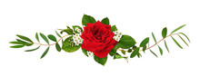 Red Rose Flower And Green Leav...
