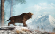 canvas print picture - A saber tooth cat stands on a snowy hill and roars into the valley below.  Smilodon populator, the largest cat ever, lived during the Pleistocene era in South America. 3D Rendering