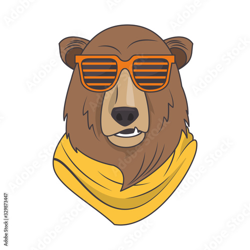 funny bear grizzly with sunglasses cool style Canvas Print