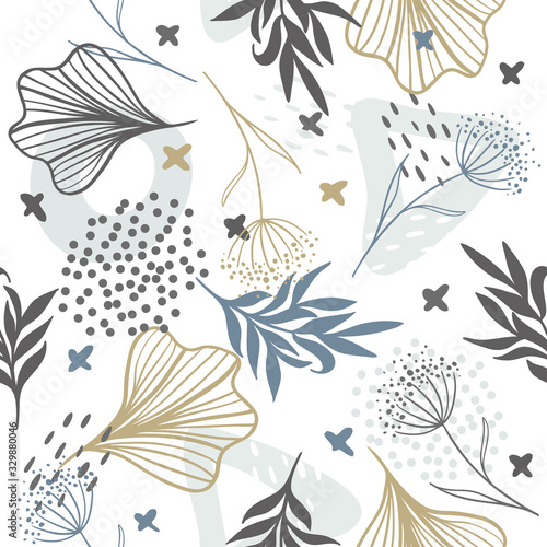 Tapety do Garderoby  seamless-exotic-pattern-with-tropical-plants-and-gold-elements-vector