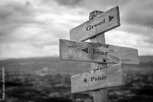 Photo Greed, fear and panic text on wooden road sign outdoors