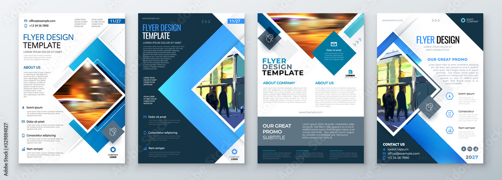 Fototapeta Flyer Template Layout Design. Corporate Business Flyer, Brochure, Annual Report, Catalog, Magazine Mockup. Creative Modern Bright Flyer Concept with Square Shapes