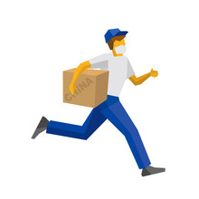 Running Delivery Man In Blue U...