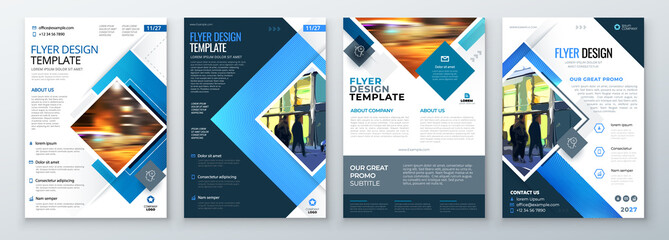 Flyer Template Layout Design. Corporate Business Flyer, Brochure, Annual Report, Catalog, Magazine Mockup. Creative Modern Bright Flyer Concept with Square Shapes