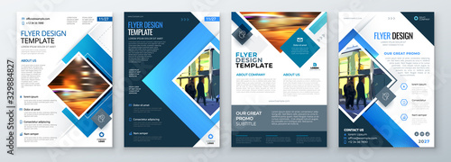 Obraz Flyer Template Layout Design. Corporate Business Flyer, Brochure, Annual Report, Catalog, Magazine Mockup. Creative Modern Bright Flyer Concept with Square Shapes - fototapety do salonu