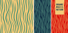 Set Of Seamless Abstract Organic Patterns. Vector. Natural Pattern And Waves For Wallpaper, Tile, Ornament For Fabric, Gift Paper.