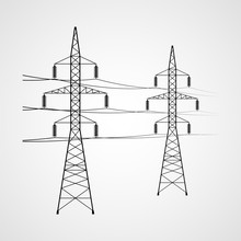 Electricity Pylon Vector Icon....