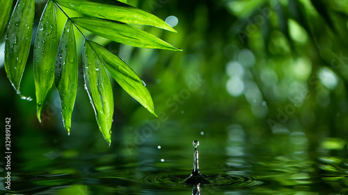 Macro shot of water drop over the water , relaxation with water ripple drops concept , freeze motion © Lukas Gojda