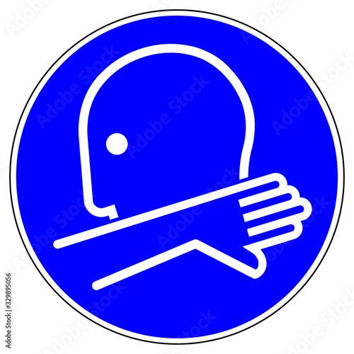 Foto shas595 SignHealthAndSafety shas - German / Gebotsschild, Gebotszeichen: In die Armbeuge husten oder niesen