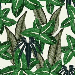 Panel Szklany Do salonu Tropical jungle plants, exotic leaves on light background. Beach seamless pattern.