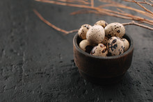 Quail Eggs In Wooden Bowl On A...
