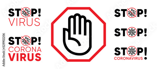 Obraz Stop Virus Pandemic Coronavirus Poster. Stop Palm Icon. Novel Coronavirus Bacteria. For Quarantine and Protective Logo. Red Vector illustration with Editable Line Icon - fototapety do salonu