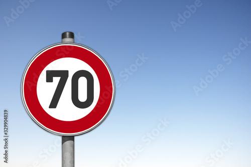 Fotografia Verkehrsschild, Höchstgeschwindigkeit, 70 km/h,