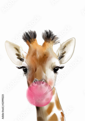 Photo Giraffe with bubblegum print • PRINTABLE ART • Baby animal prints  • Animals wit