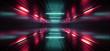 Sci Fi futuristic Neon Red Blue Concrete Garage Underground Cyber Virtual Lines Pillars Pantone Classic Spaceship Showroom 3D Rendering