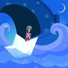 Vintage Figure Of A Military Tin Soldier In Paper Ship. Fairy Tale. Retro Toy. Flat Vector Illustration. Night Background. For Children Books, Covers, Magazines, Blogs.
