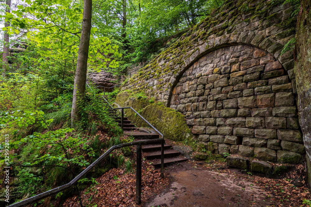 Stairs and a stone wall up to the famous Bastei bridge in Saxon Switzerland