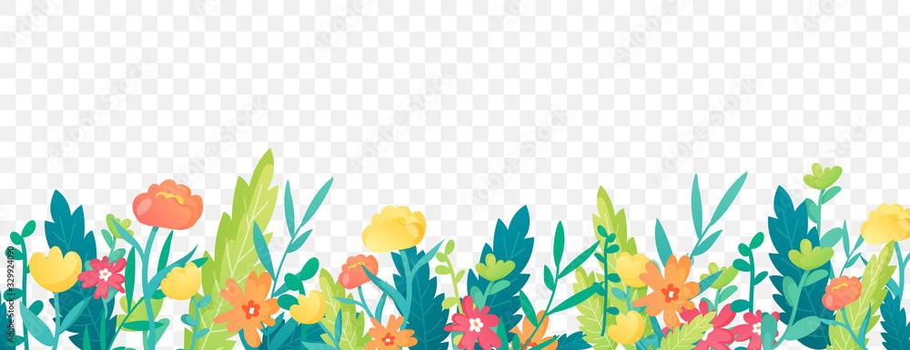 Fototapeta Bright floral border on transparent background.