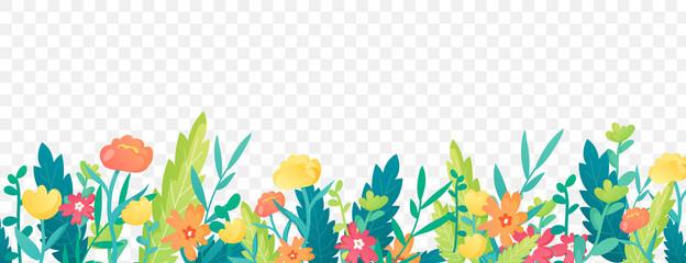 Bright floral border on transparent background.