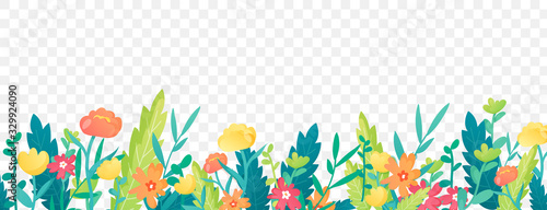 Obraz Bright floral border on transparent background. - fototapety do salonu
