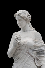 Marble Statue Of An Ancient Greek Goddess Isolated On Black Background