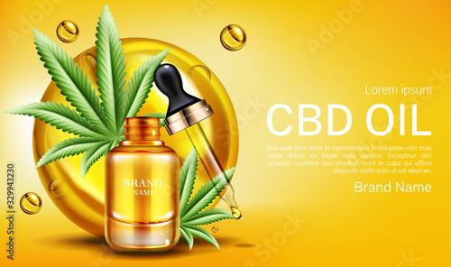 Cbd oil banner mockup, hemp cannabinoid extract Wallpaper Mural
