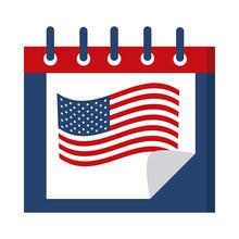 Memorial Day Calendar Flag Reminder American Celebration Flat Style Icon