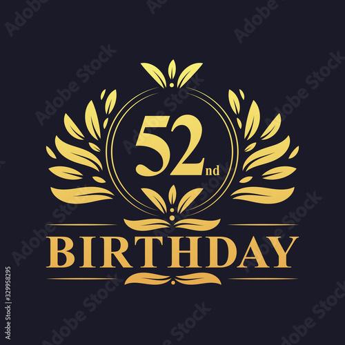Fotografía Luxury 52nd Birthday Logo, 52 years celebration.