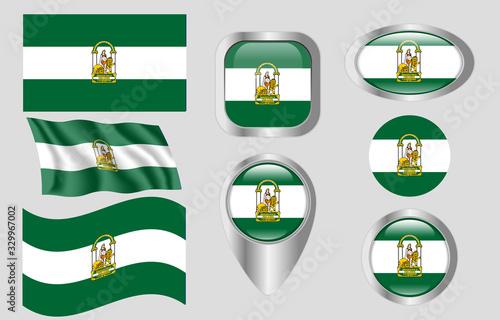Fotografie, Obraz Flag of Andalucia, Spain