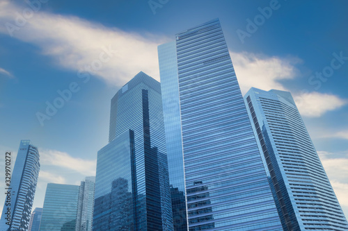 low angle view of singapore financial buildings at morning Canvas Print