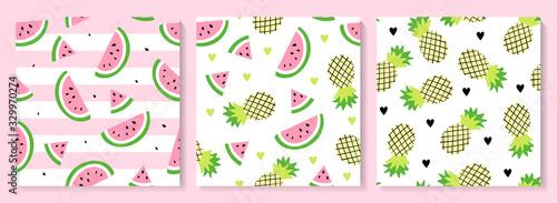 Fototapeta A set of watermelon and pineapple seamless pattern. obraz