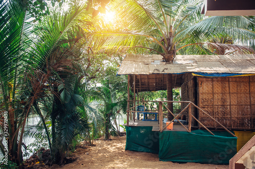 House or hut made of palm leaves in the middle of jungle on hot tropical day Canvas Print
