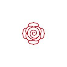 Rose Logo Line Icon Vector Des...