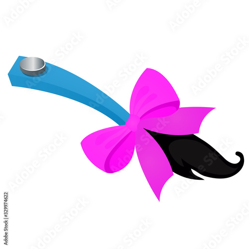 Fotografie, Tablou Funny accessory in the form of attached tail with purple ribbon bow isolated on white background