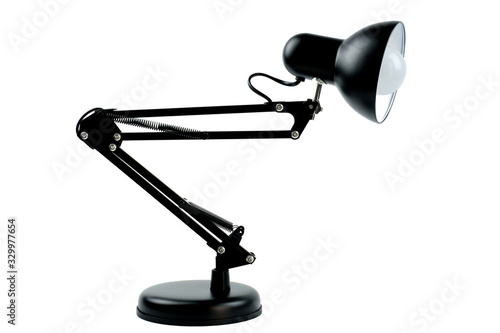 Photographie Black desk lamp isolated on white background.