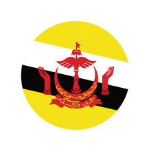 Brunei Darussalam Flag In Glossy Round Button Of Icon. Flag Logo Of Brunei Darussalam Emblem Isolated On White Background, Brunei Darussalam National Concept Sign, Vector Illustration.