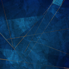 Dark Blue Grunge Corporate Abstract Background With Golden Lines. Vector Design