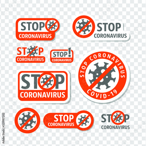 Obraz Stop coronavirus. Coronavirus danger and public health risk disease and flu outbreak. No Infection and Stop Coronavirus Concepts. Isolated Vector Icon - fototapety do salonu