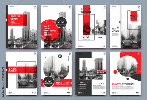 Fototapeta Abstract binder layout. White a4 brochure cover design. Fancy info text frame. Creative ad flyer font. Title sheet model set. Modern vector front page. Elegant city banner. Red figures icon fiber obraz