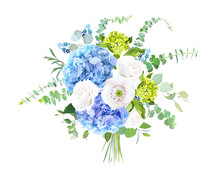 Watercolor Style Flowers Bouquet