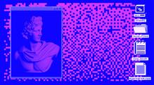 Retro Vaporwave Desktop With Console Window And User Interface Icons. Webpunk Retrofuturistic Nostalgic Style.