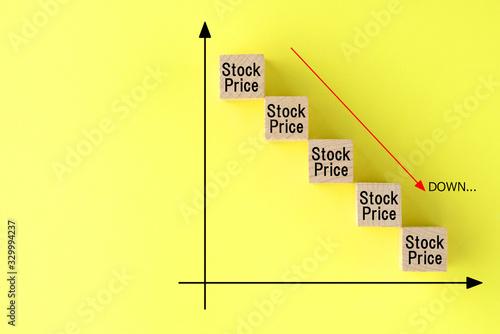 株価の下落イメージ Fototapet