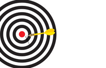 Yellow Dart  Almost Hit The Bulleye And Missed The Target And Hit On The White Space On The Targer Bacground,, Almost There Keep Going Idea And Missed Target Concept